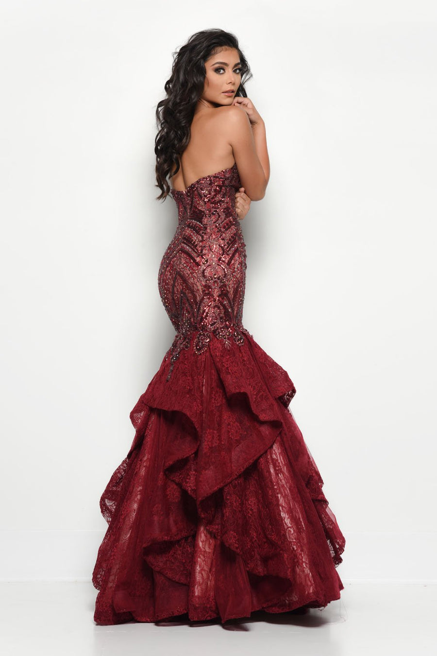 Jasz Couture 7046 prom dress images.  Jasz Couture 7046 is available in these colors: Navy, Wine.