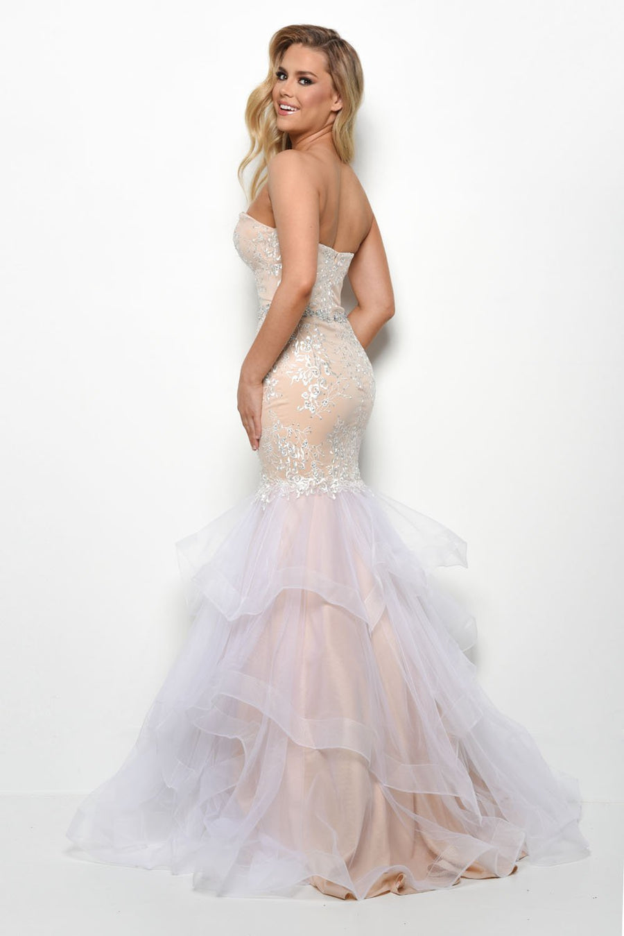Jasz Couture 7083 prom dress images.  Jasz Couture 7083 is available in these colors: Black Nude, Ivory Nude.