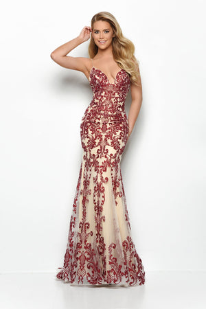 Jasz Couture 7087 prom dress images.  Jasz Couture 7087 is available in these colors: Nude Burgundy, Nude Black, Nude Ivory.