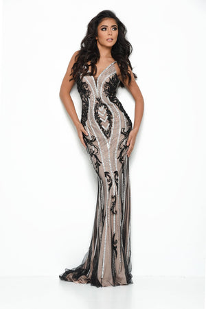 Jasz Couture 7090 prom dress images.  Jasz Couture 7090 is available in these colors: Black Nude, Teal Rose.