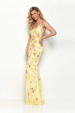 Jasz Couture 7096 prom dress images.  Jasz Couture 7096 is available in these colors: Sky Blue Multi, Yellow Multi.