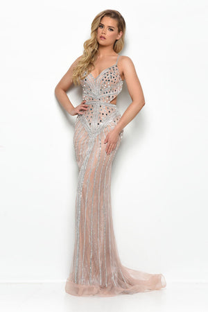 Jasz Couture 7102 prom dress images.  Jasz Couture 7102 is available in these colors: Nude, Black.
