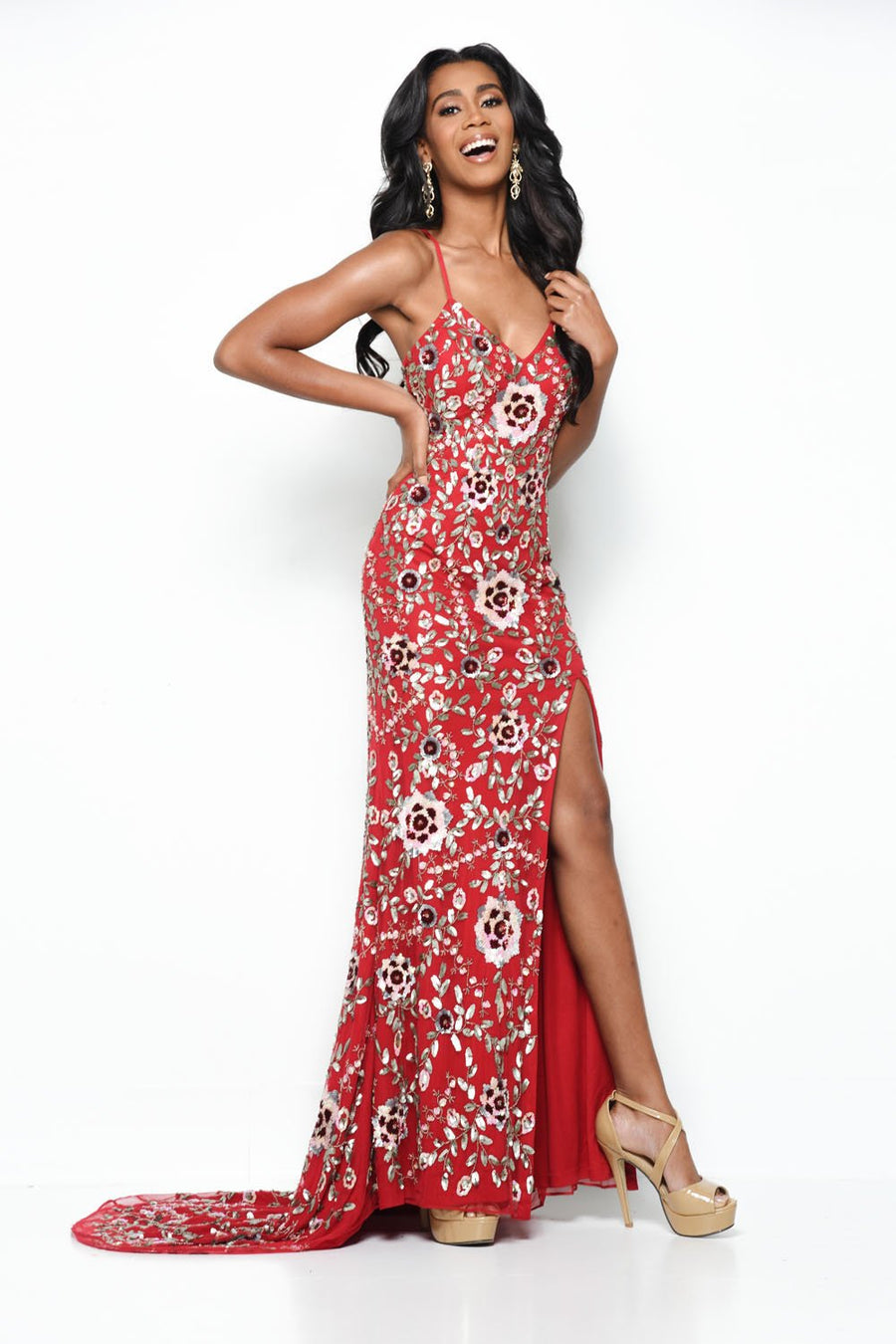 Jasz Couture 7103 prom dress images.  Jasz Couture 7103 is available in these colors: Red Multi.