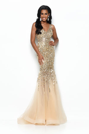 Jasz Couture 7111 prom dress images.  Jasz Couture 7111 is available in these colors: Silver, Gold.