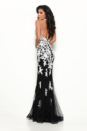 Jasz Couture 7128 prom dress images.  Jasz Couture 7128 is available in these colors: Black White, Ice Blue White.