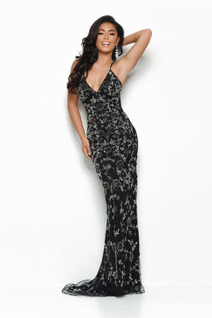 Jasz Couture 7143 prom dress images.  Jasz Couture 7143 is available in these colors: Black.