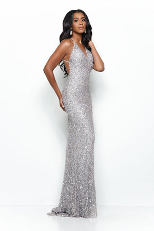 Jasz Couture 7144 prom dress images.  Jasz Couture 7144 is available in these colors: Grey.