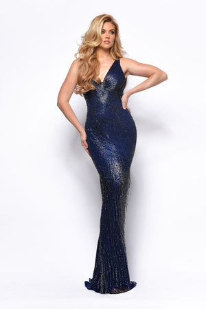 Jasz Couture 7151 prom dress images.  Jasz Couture 7151 is available in these colors: Midnight Blue.