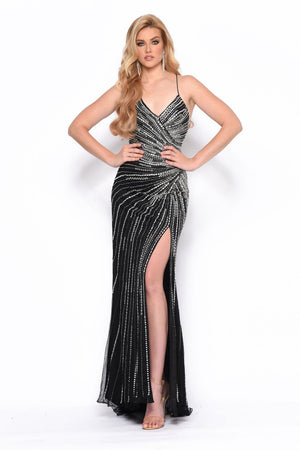 Jasz Couture 7159 prom dress images.  Jasz Couture 7159 is available in these colors: Black Silver, Nude Silver.