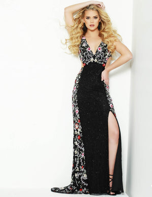 Jasz Couture 1502 prom dress images.  Jasz Couture 1502 is available in these colors: Black Multi.