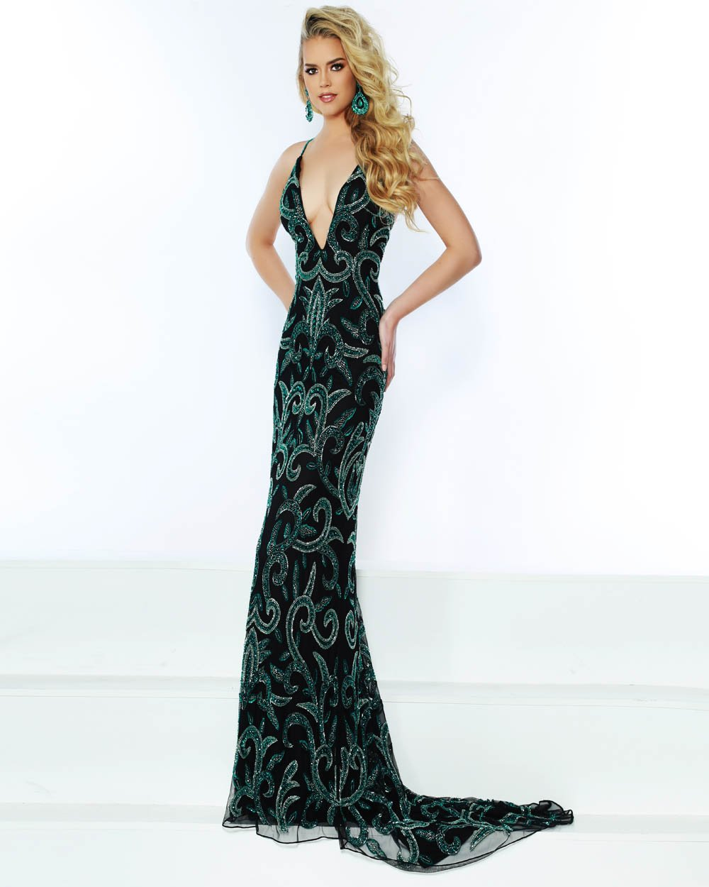 Jasz Couture 1504 prom dress images.  Jasz Couture 1504 is available in these colors: Black Emerald.