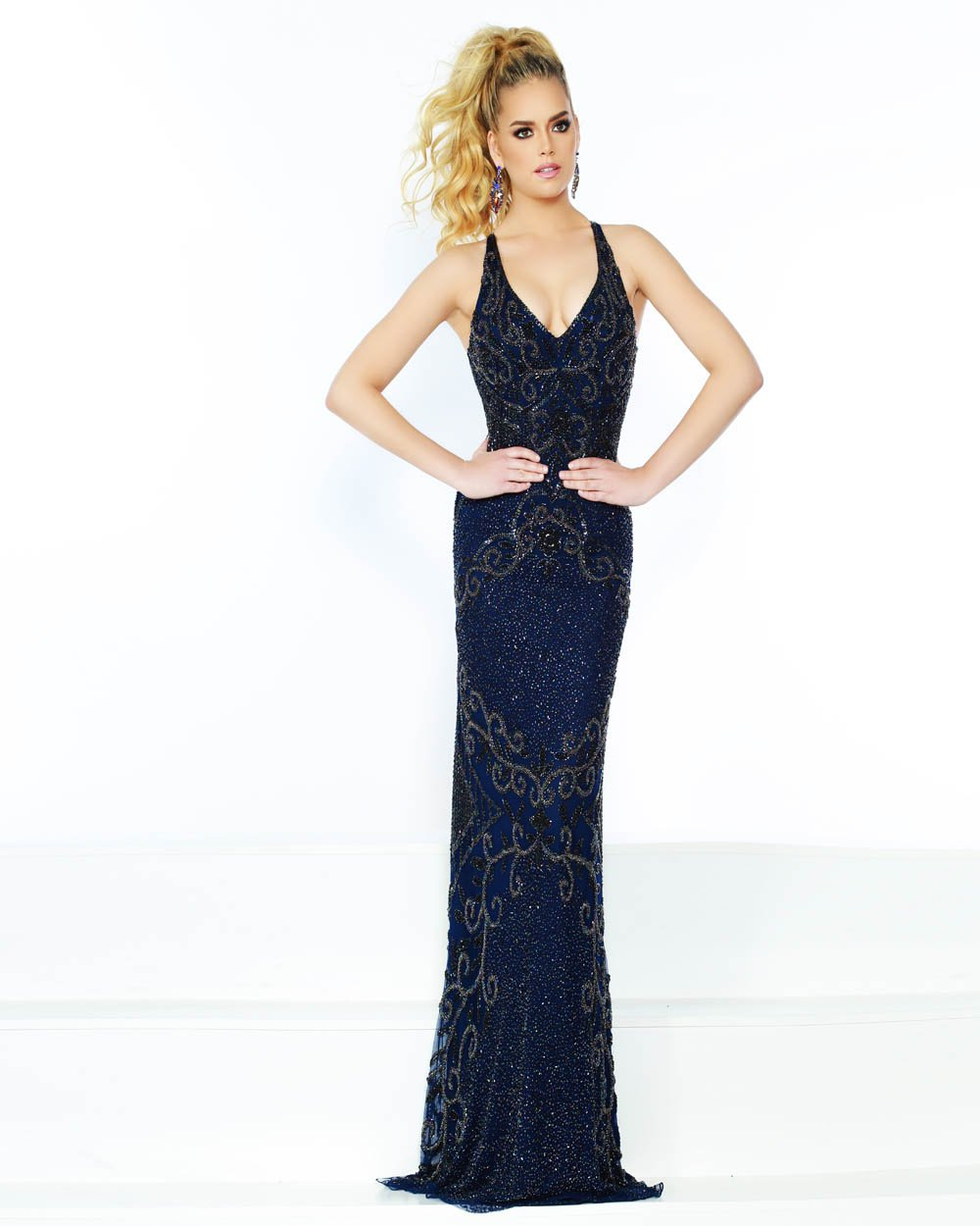 Jasz Couture 1518 prom dress images.  Jasz Couture 1518 is available in these colors: Ivory, Navy.