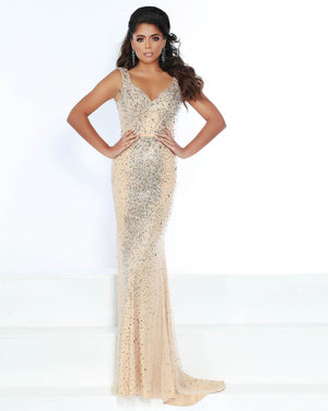 Jasz Couture 6399 prom dress images.  Jasz Couture 6399 is available in these colors: Nude.