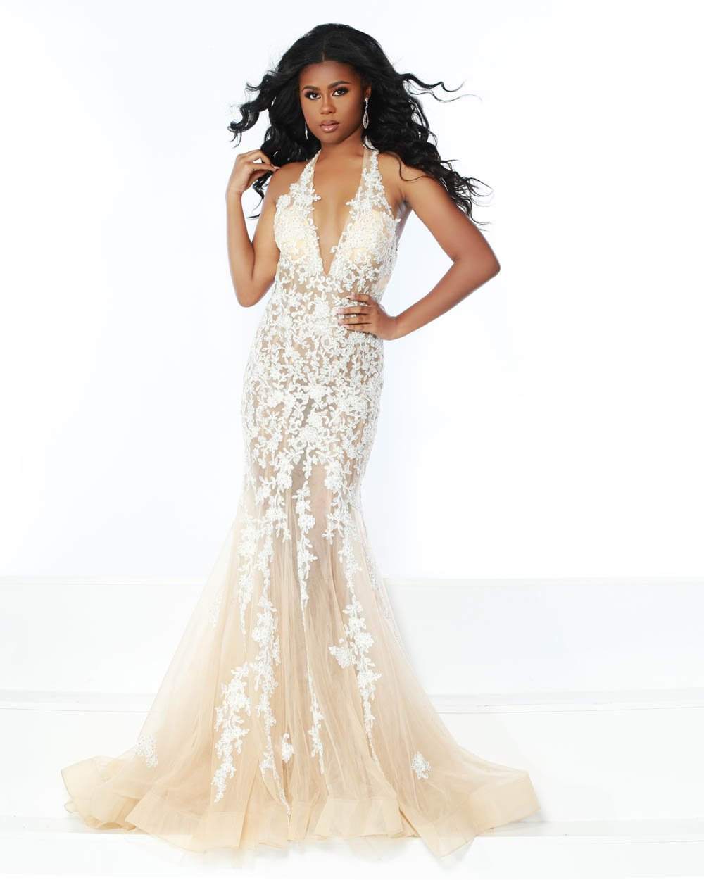 Jasz Couture 6401 prom dress images.  Jasz Couture 6401 is available in these colors: Ice Blue, Midnight, Nude.