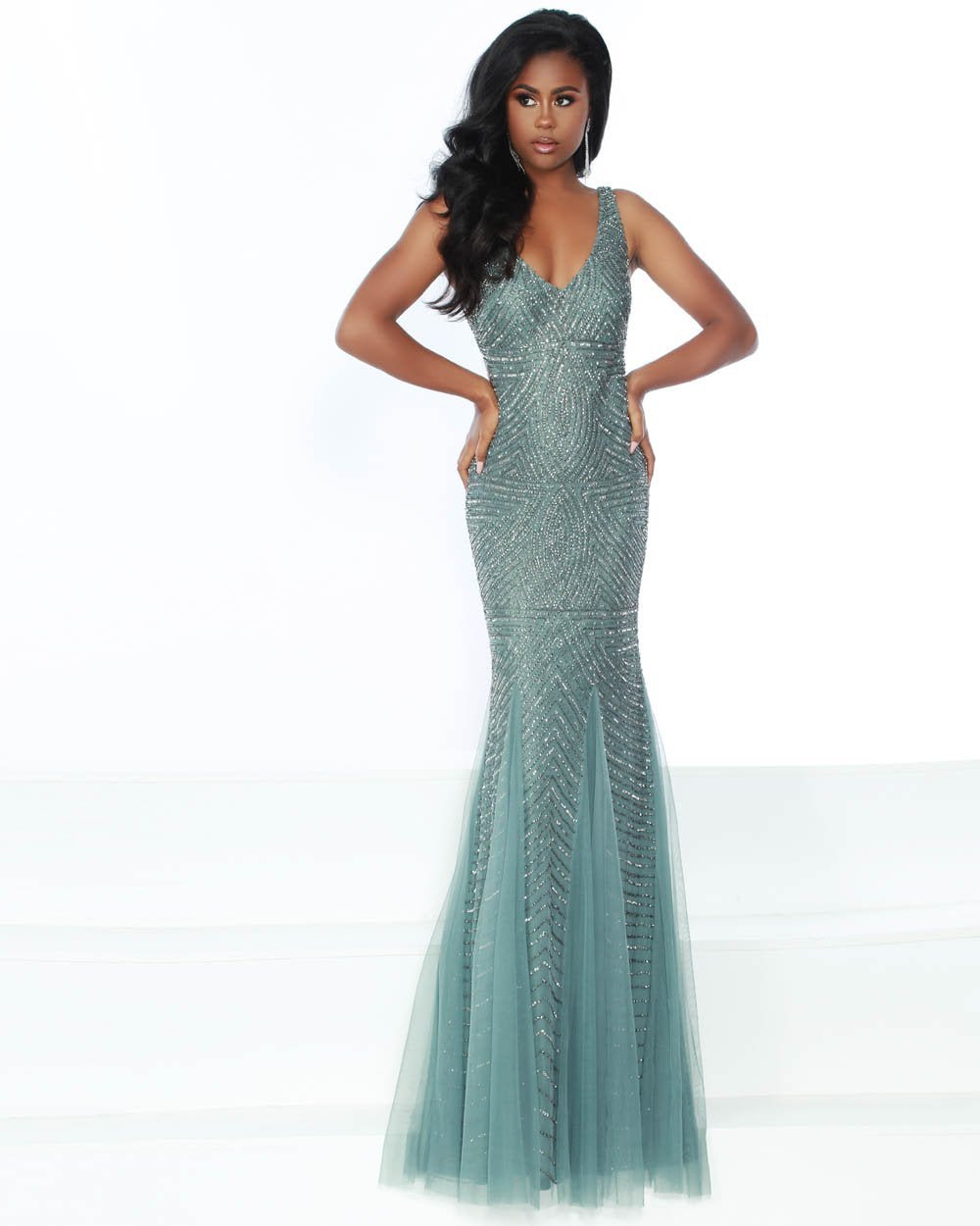 Jasz Couture 6493 prom dress images.  Jasz Couture 6493 is available in these colors: Sage Mercury.