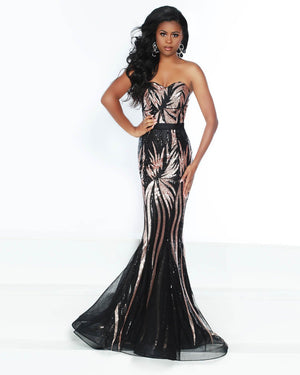 Jasz Couture 6499 prom dress images.  Jasz Couture 6499 is available in these colors: Black Rose, White Black.