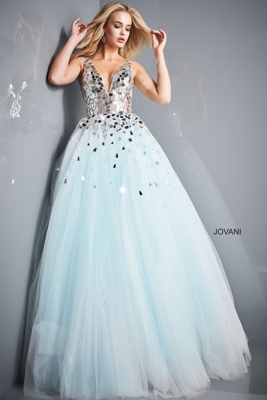 Jovani 00007 prom dress images.  Jovani 00007 is available in these colors: Light Blue.