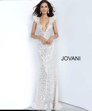 Jovani 02457 prom dress images.  Jovani 02457 is available in these colors: Silver.