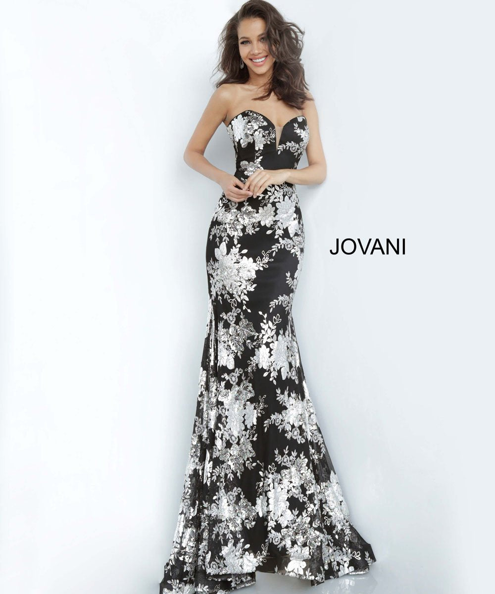 Jovani 02475 prom dress images.  Jovani 02475 is available in these colors: Black Silver.