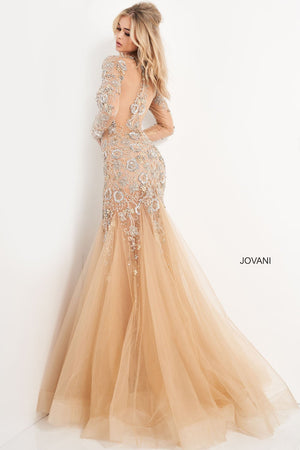 Jovani 02537 prom dress images.  Jovani 02537 is available in these colors: Nud Silver Gold.