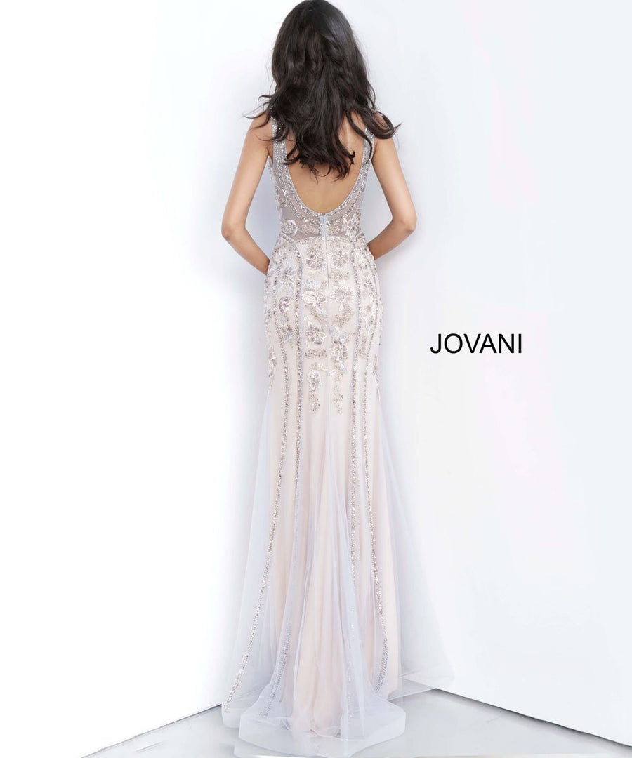 Jovani 02580 prom dress images.  Jovani 02580 is available in these colors: Grey Purple, Multi Nude.
