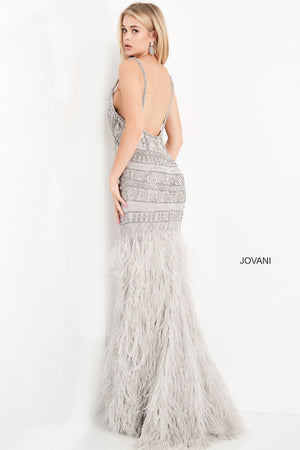 Jovani 04540 prom dress images.  Jovani 04540 is available in these colors: Ivory Nude, Silver.