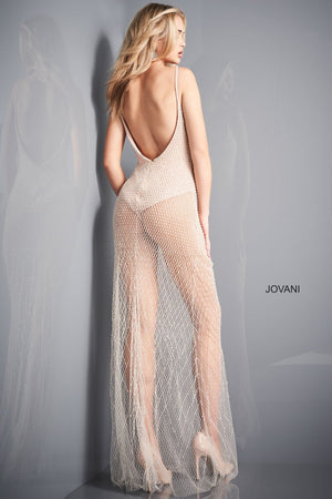 Jovani 04864 prom dress images.  Jovani 04864 is available in these colors: Nude Silver.