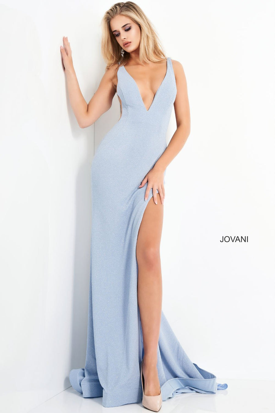 Jovani 04998 prom dress images.  Jovani 04998 is available in these colors: Blue, Champagne, Orange, Pink.