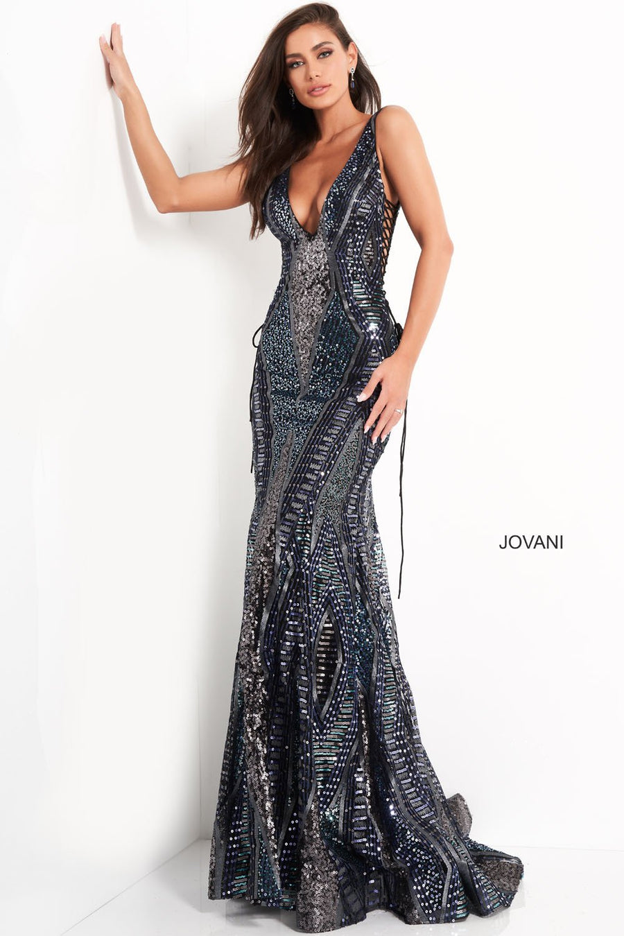 Jovani 05071 prom dress images.  Jovani 05071 is available in these colors: Navy Multi.
