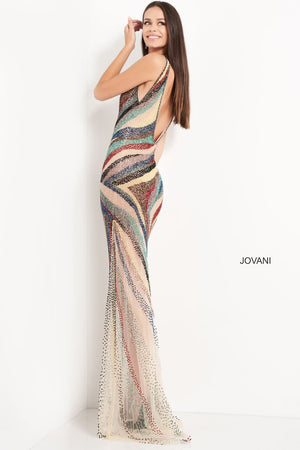 Jovani 05560 prom dress images.  Jovani 05560 is available in these colors: Nude Multi.