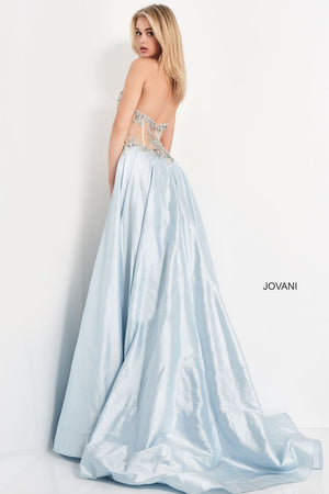 Jovani 05587 prom dress images.  Jovani 05587 is available in these colors: Light Blue Nude, Peacoc, Fuchsia.