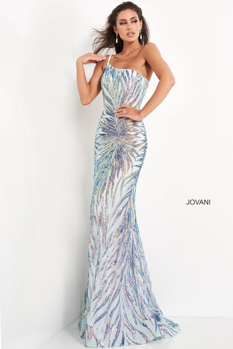 Jovani 05664 prom dress images.  Jovani 05664 is available in these colors: Mint Multi.