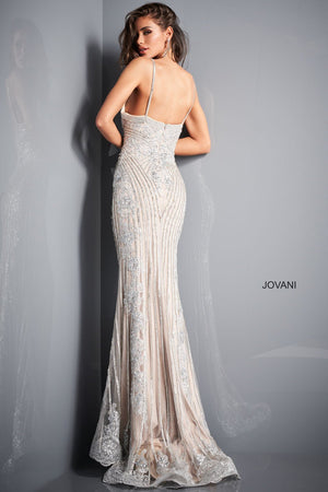 Jovani 05752 prom dress images.  Jovani 05752 is available in these colors: Silver Nude.