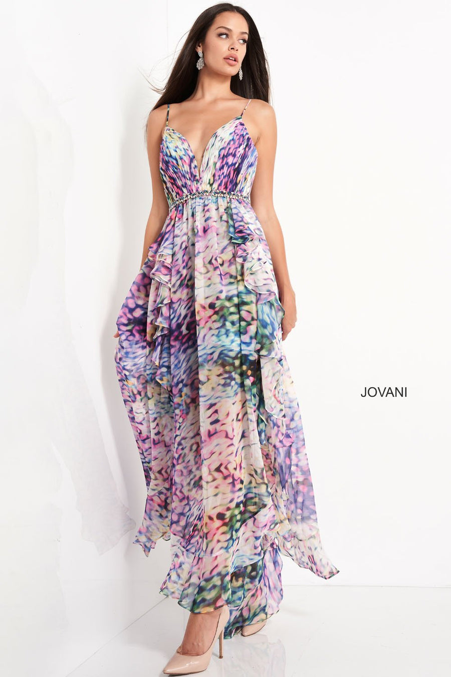 Jovani 06031 prom dress images.  Jovani 06031 is available in these colors: Print.