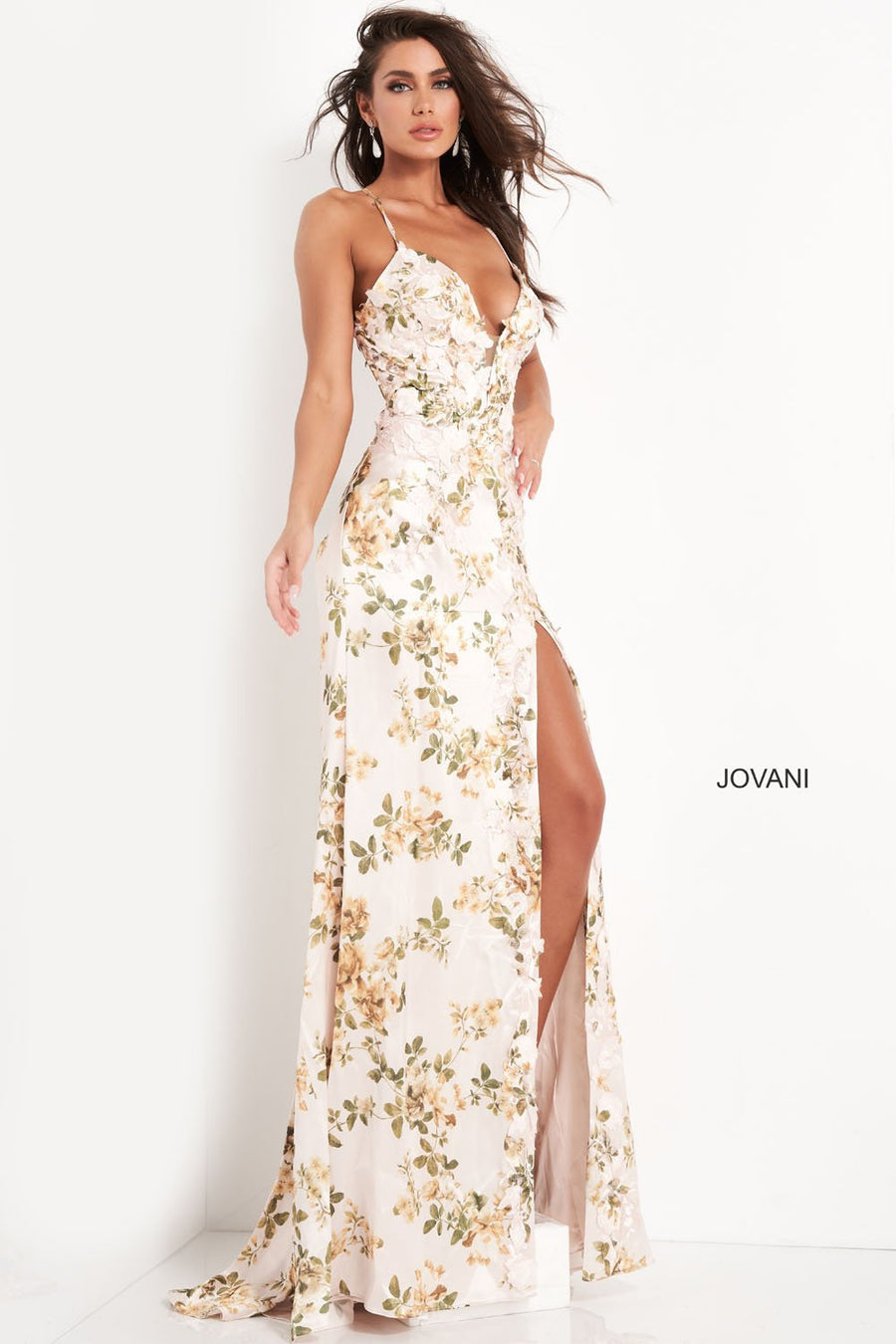 Jovani 06090 prom dress images.  Jovani 06090 is available in these colors: Champagne Print.