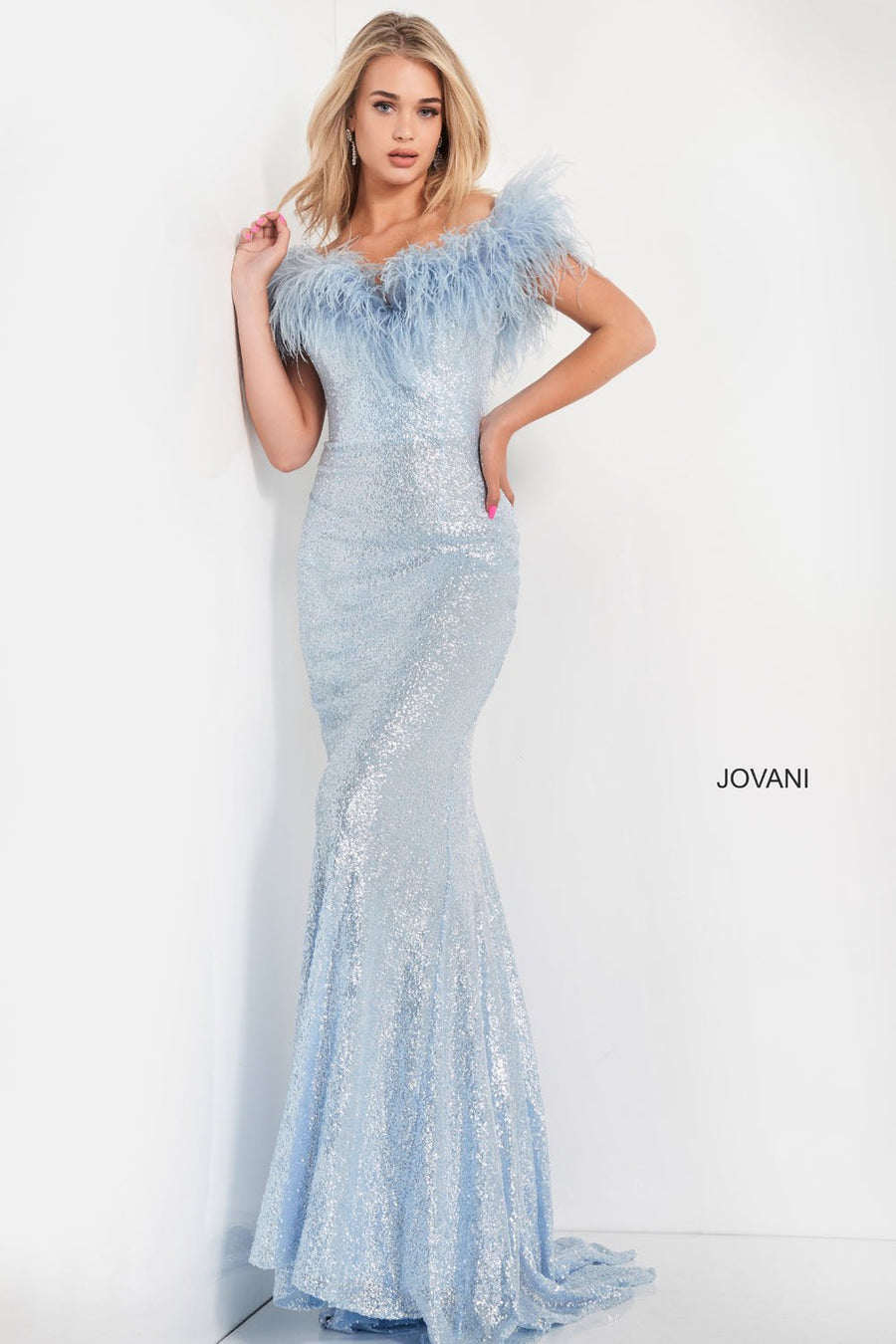 Jovani 06166 prom dress images.  Jovani 06166 is available in these colors: Blue, Ice Pink, Ivory, Red.