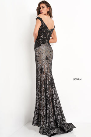 Jovani 06437 prom dress images.  Jovani 06437 is available in these colors: Navy Silver, Black Silver, Turquoise Silver.