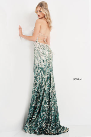 Jovani 06459 prom dress images.  Jovani 06459 is available in these colors: Silver Green, Silver Cafe.