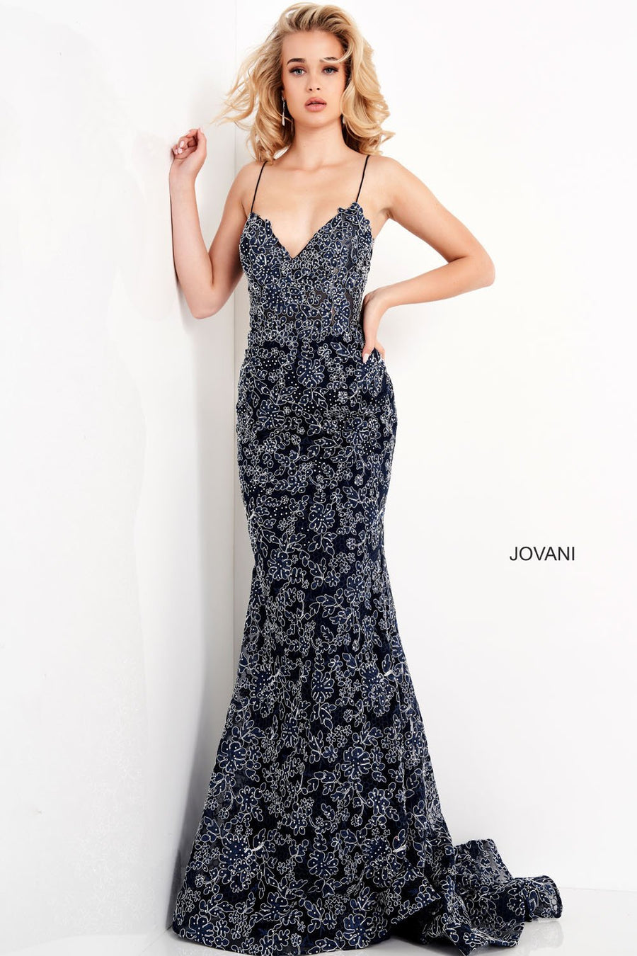 Jovani 06591 prom dress images.  Jovani 06591 is available in these colors: Navy.