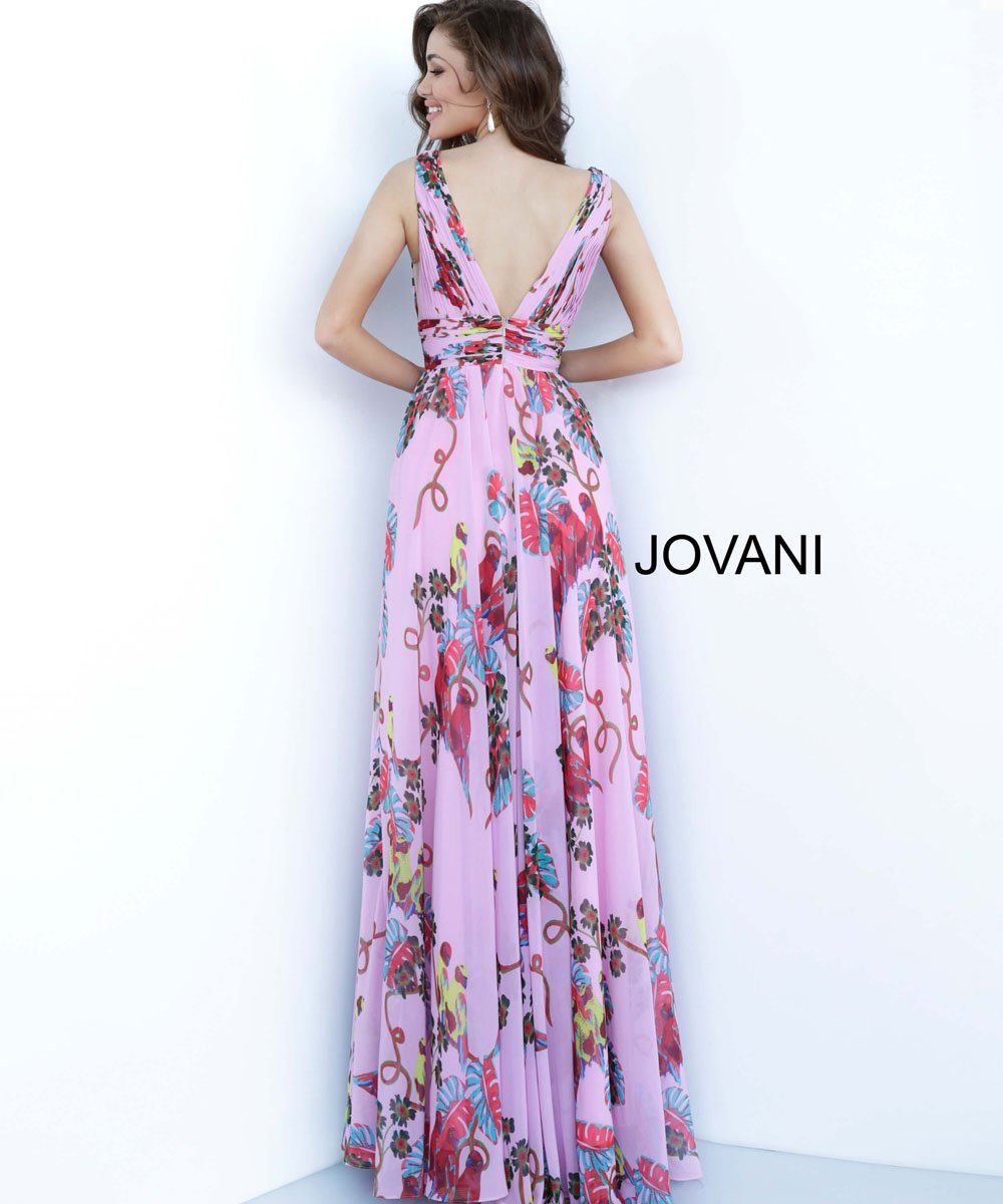 Jovani 1032 prom dress images.  Jovani 1032 is available in these colors: Pink Print.