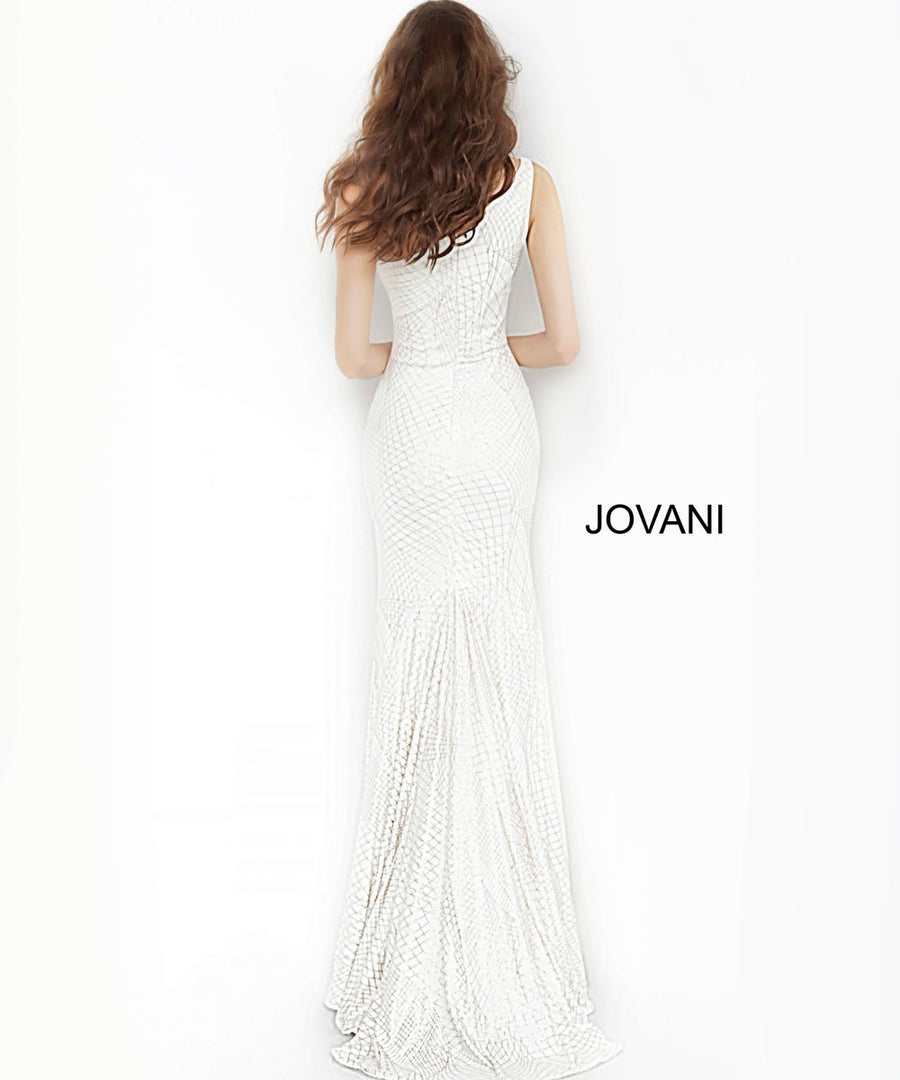 Jovani 1119 prom dress images.  Jovani 1119 is available in these colors: Magenta, Off White Gold, Navy.
