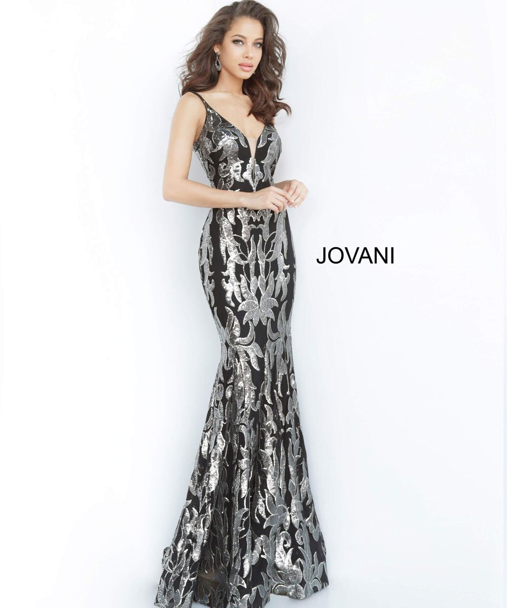 Jovani 3263 prom dress images.  Jovani 3263 is available in these colors: Black Gunmetal, Black Rose.