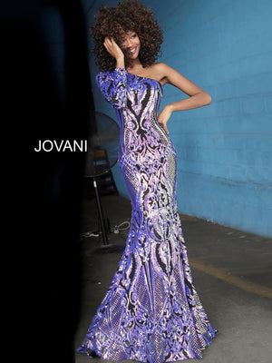 Jovani 3477 prom dress images.  Jovani 3477 is available in these colors: Black Purple.