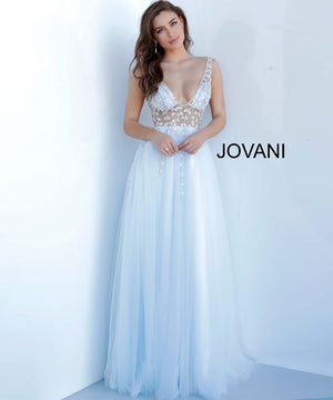 Jovani 3958 prom dress images.  Jovani 3958 is available in these colors: Light Blue Silver, Pink Silver.
