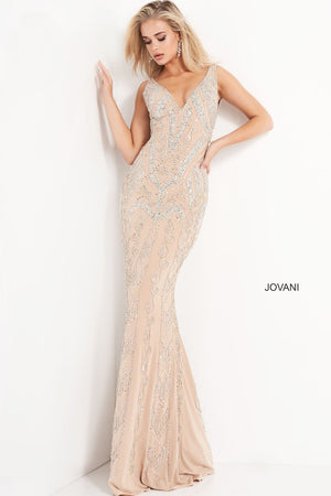 Jovani 4017 prom dress images.  Jovani 4017 is available in these colors: Nude Silver.