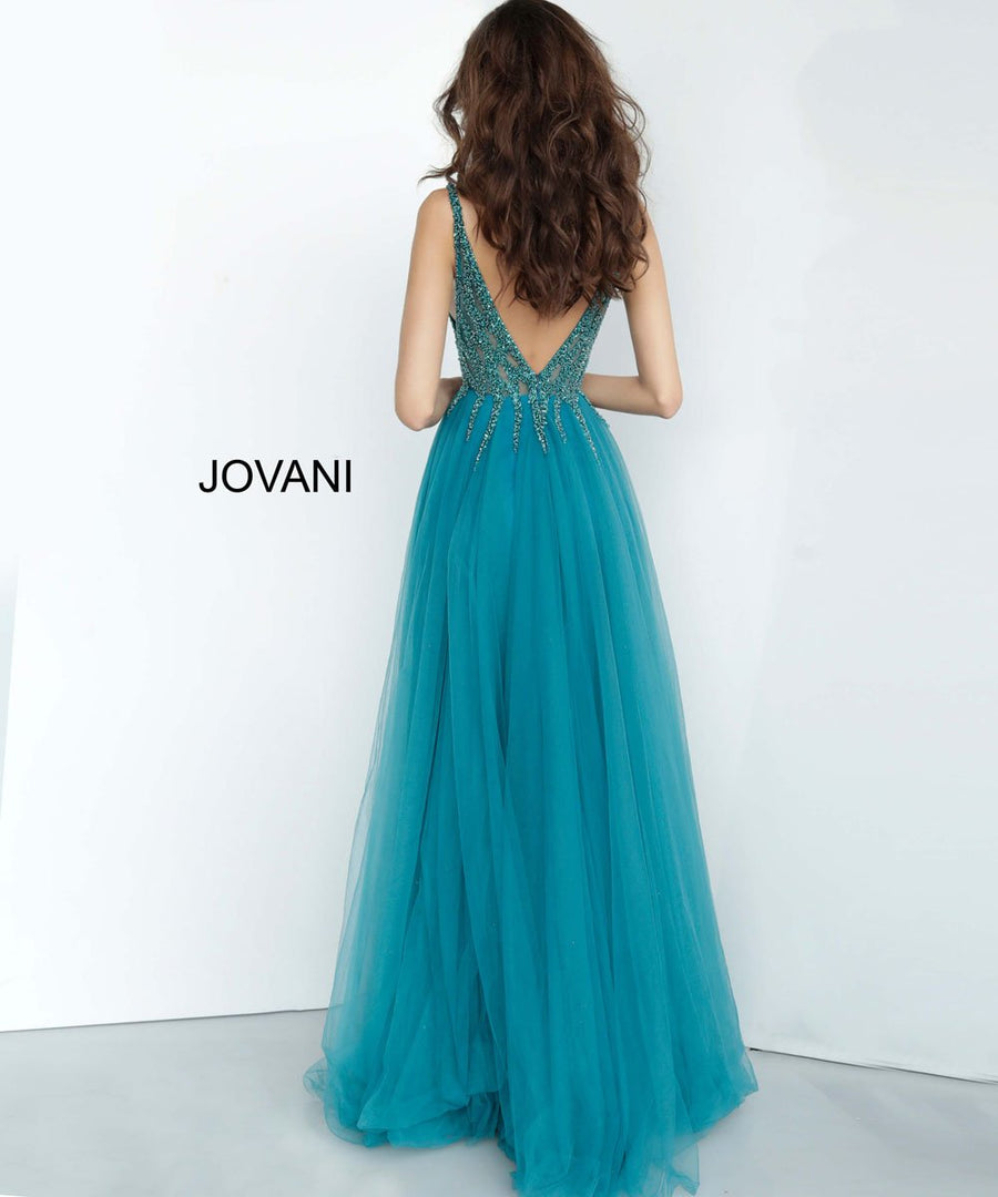 Jovani 54873 prom dress images.  Jovani 54873 is available in these colors: Blush, Gunmetal, Nude Silver, Teal.