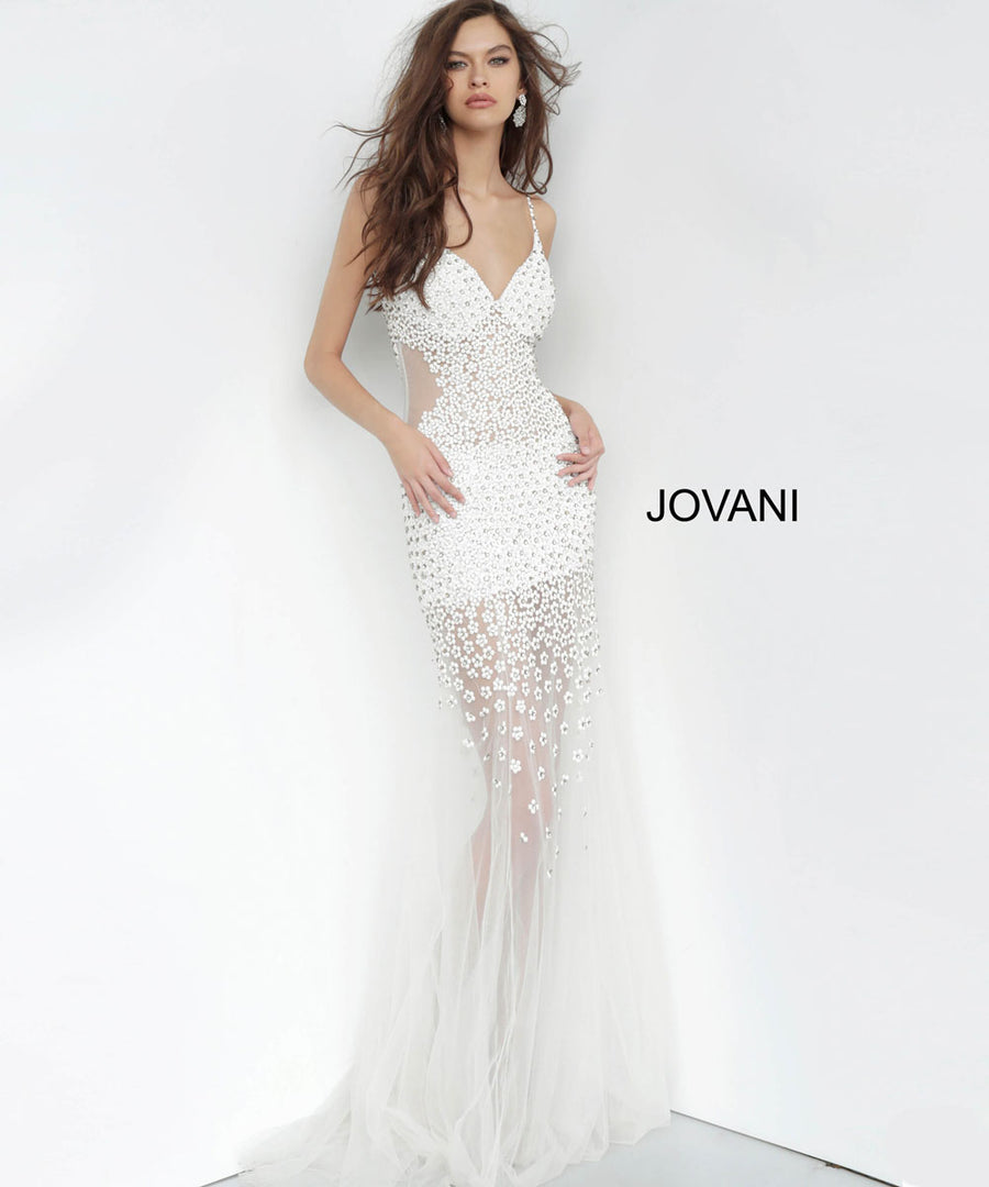 Jovani 60695 dresses are available in the following colors: Black, Blush, Off White. $640 is the Formal Approach best price guarantee