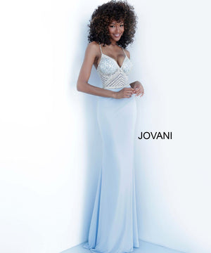 Jovani 63147 prom dress images.  Jovani 63147 is available in these colors: Lavender, Light Blue, Off White.