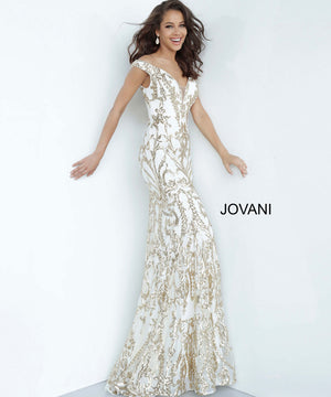 Jovani 63349 prom dress images.  Jovani 63349 is available in these colors: Black Gold, Black Green, Black Red, Black Royal, Black Silver, Navy Navy, White Gold.