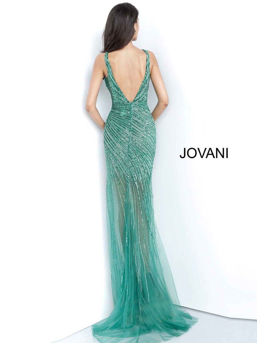 Jovani 63405 prom dress images.  Jovani 63405 is available in these colors: Emerald, Gold Silver, Platinum.